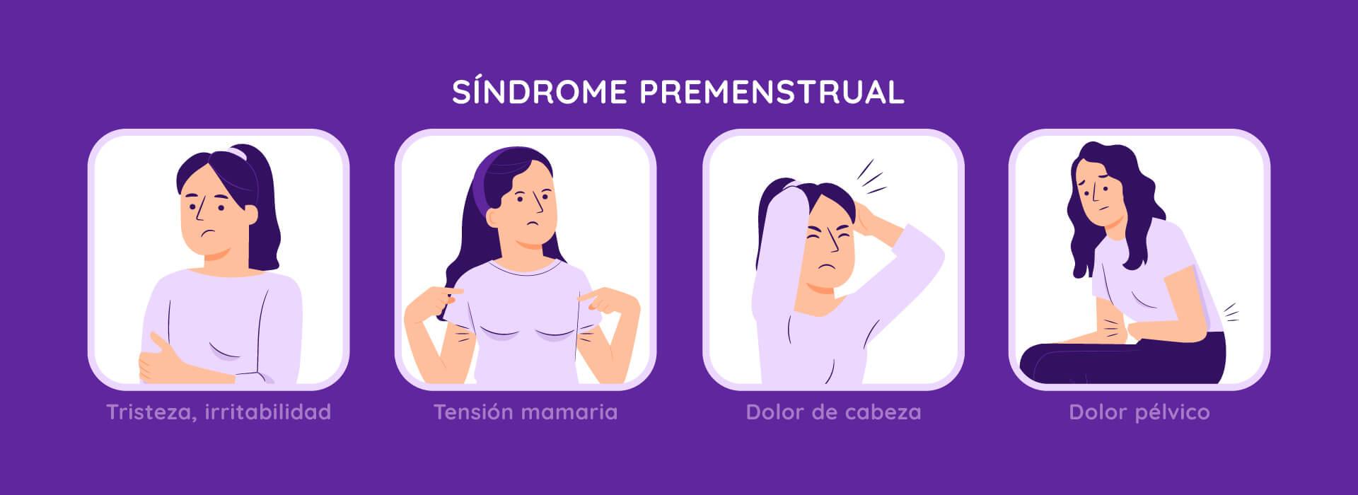 Ilustración que detalla los 4 sintomas de síndrome prementrsual